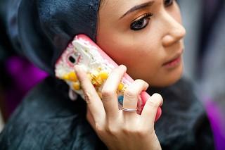 Arabic lady on phone